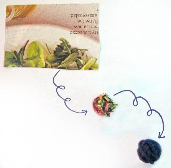 Crumpled Magazine Page Yarn Balls