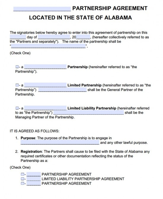 Free Alabama Partnership Agreement Template PDF Word - Free Partnership Agreement Form