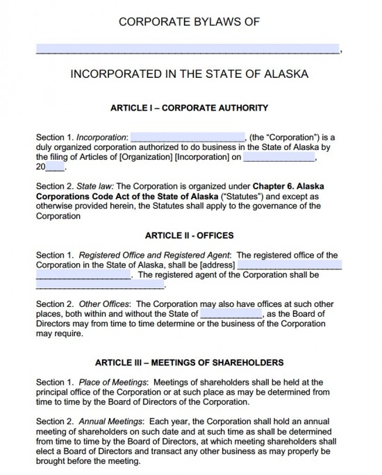 Free Alaska Corporate Bylaws Template PDF Word - bylaw template
