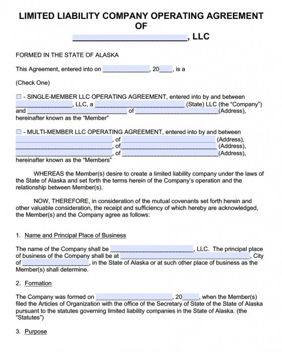 Free Alaska LLC Operating Agreement Template PDF Word - business operating agreement