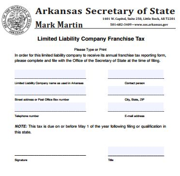 How to Start a Domestic LLC in Arkansas Articles of Organization