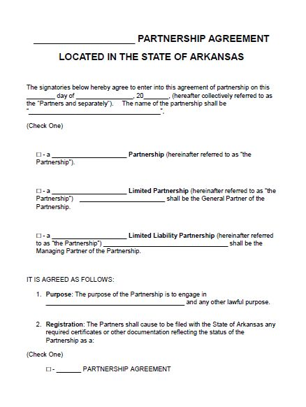 Free Arkansas Partnership Agreement Template PDF Word