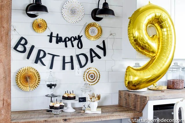 Black, White and Gold Birthday Party Start at Home Decor