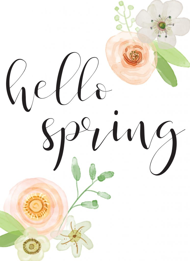 Hello Spring Printable and Some Real Fake Tulips Start at Home Decor