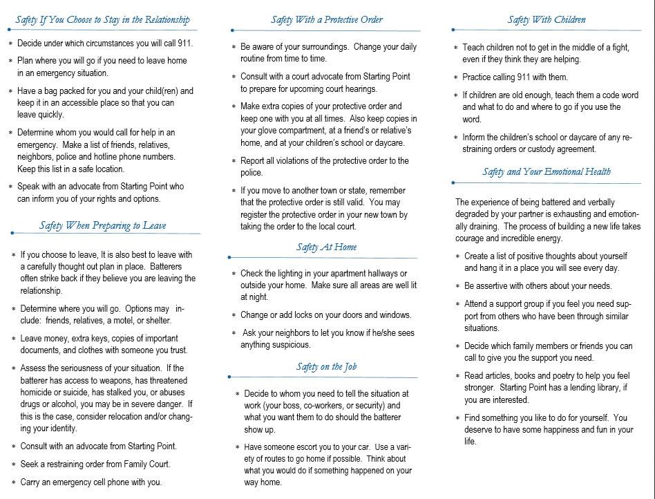 Safety Plan \u2013 Starting Point