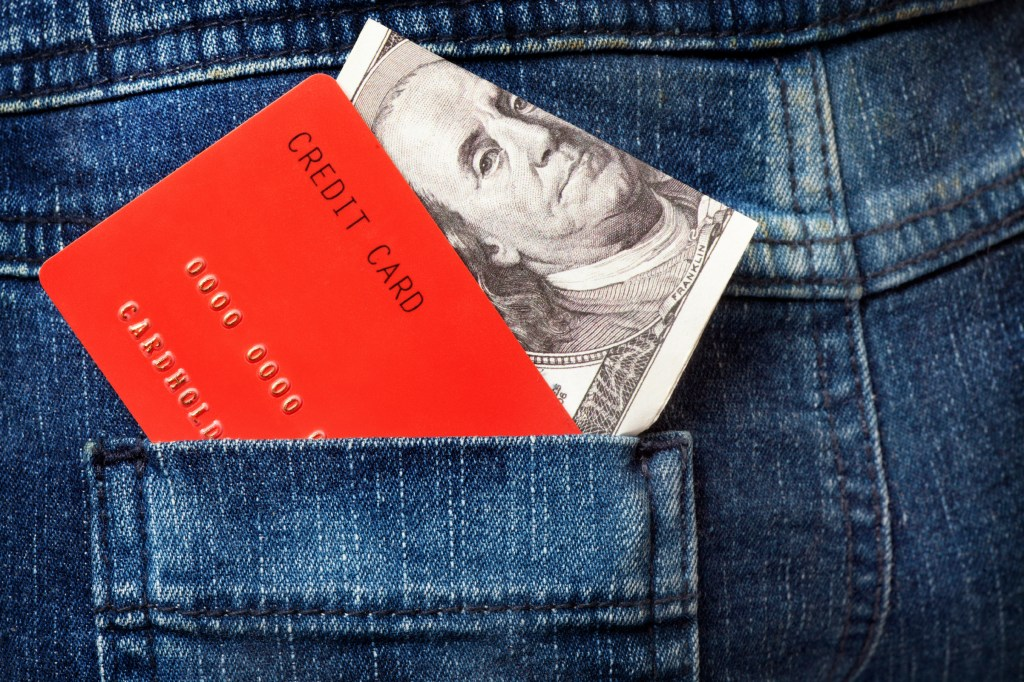 Red Credit Cards and Dollar Note in the Jeans Pocket - Large