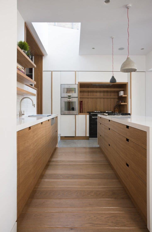Cucina Rovere Naturale E Bianco | Cucine Moderne In Legno Chiaro 100 ...