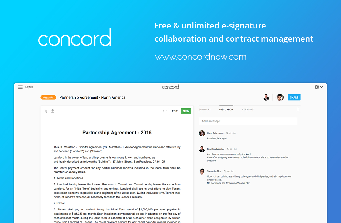 Featured Startup Pitch Concord \u2013 E-signature and contract