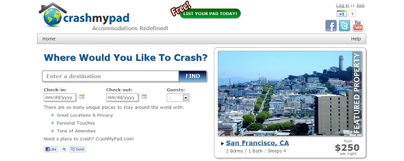 CrashMyPad - Startup Featured on StartUpLift for Website Feedback