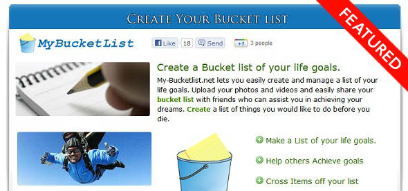 MyBucketList - Create Your Own Bucket List -  StartUp featured on StartUpLift for website feedback and Startup Feedback