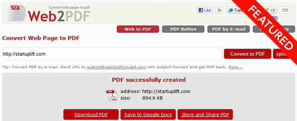 web2pdf convert - startup featured on startuplift for website feedback and startup feedback.