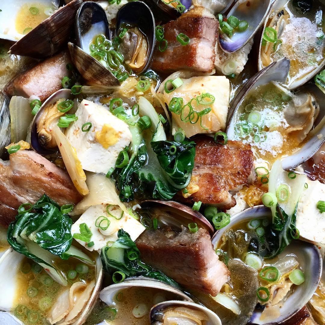Pork belly kimchi clams amp hodosoy tofu this recipe ishellip