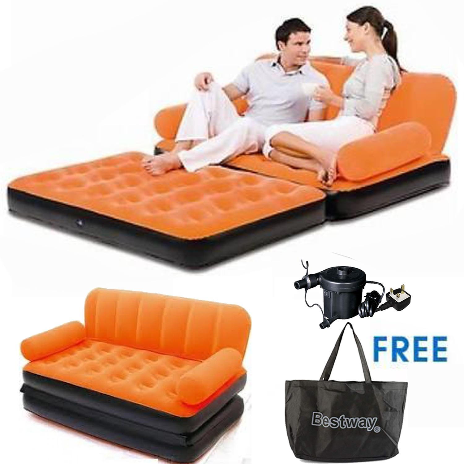 Air Sofa ár Original Bestway Brand Air Inflatable 5 In 1 Sofa Cum Bed Orange