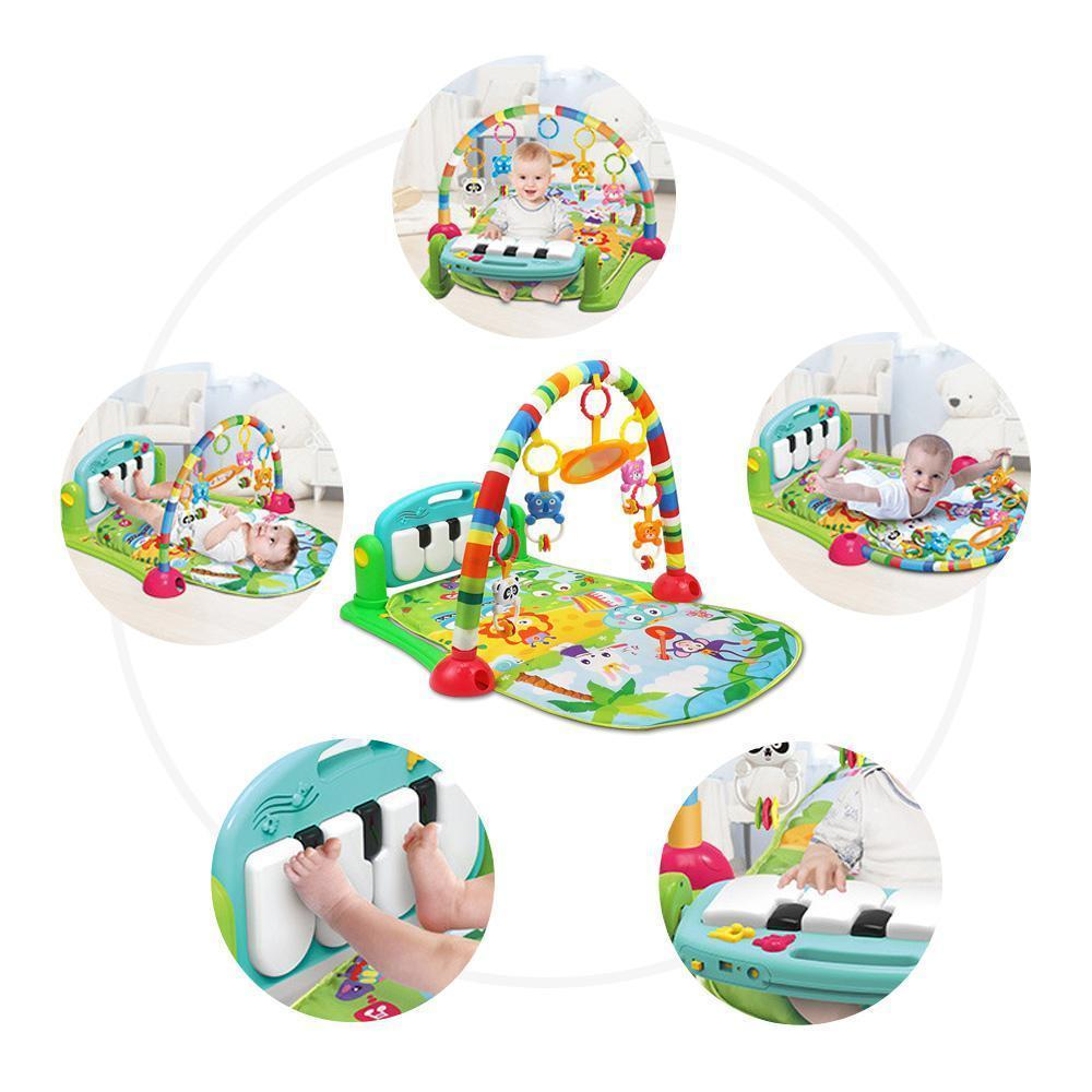 How To Play Newborn On Piano 3 In 1 Baby Play Mat And Activity Gym Newborn Pedal Piano Fitness Rack Baby Toy Multi Function Early Education Music Baby Crawling Mat