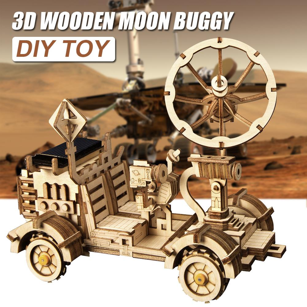 Moon Buggy Diy Moveable Moon Buggy Solar Energy Toy 3d Diy Cutting Wooden Puzzle Model Building Kits Gift For Children Adult