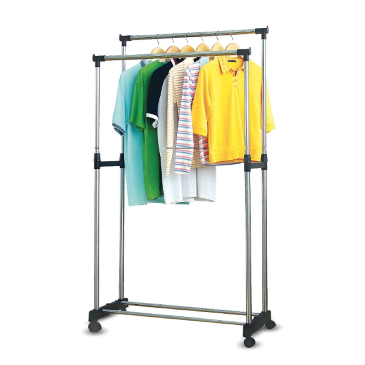 Cloth Hanger Stand Double Pole Telescopic Clothes Hanger Garment Drying Rack With Rolling Wheels Steel Floor Cloth Dryer Stand