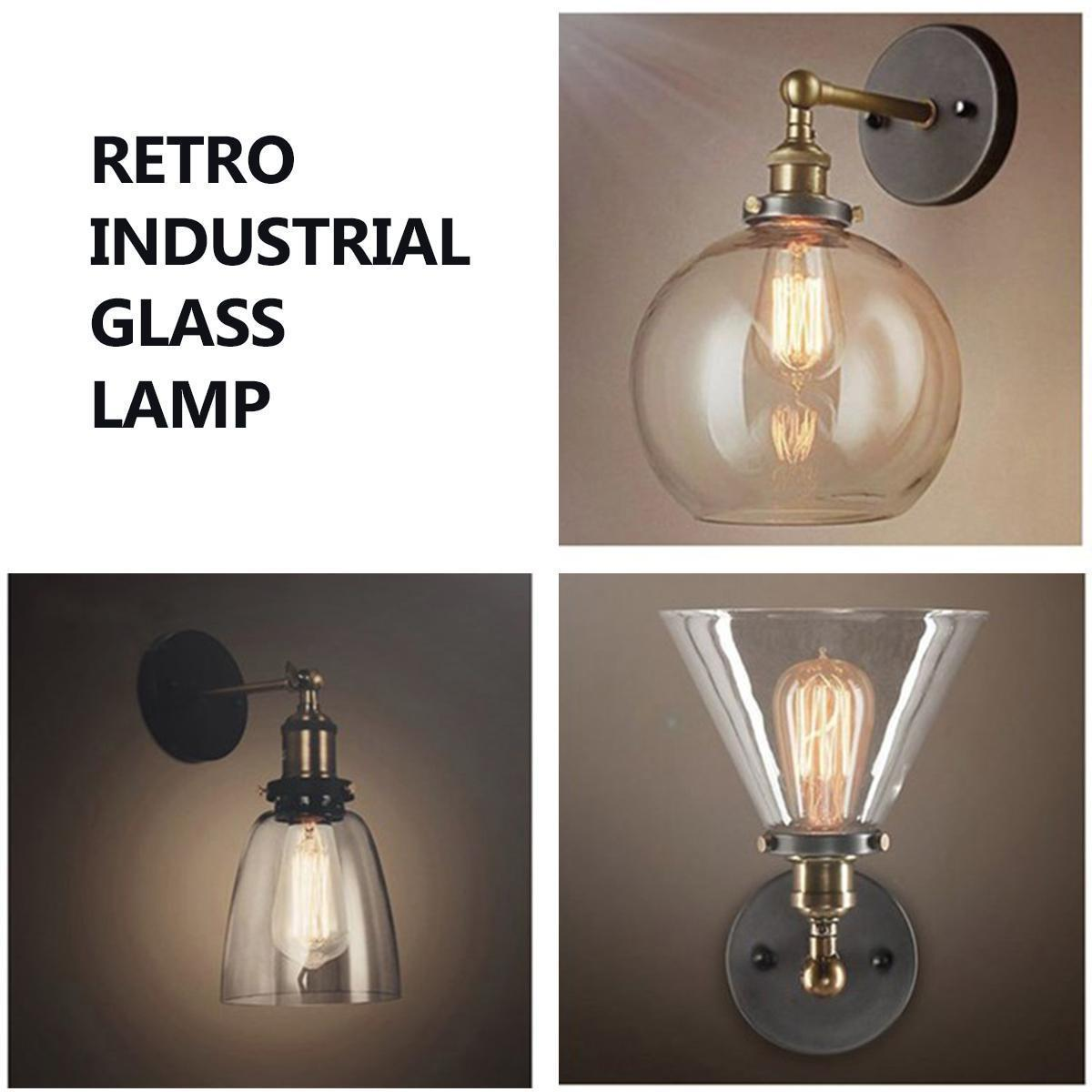 Glass Edison Lamp Vintage Industrial Glass Wall Lamp Transparent Glass Edison Bulb Wall Triangle