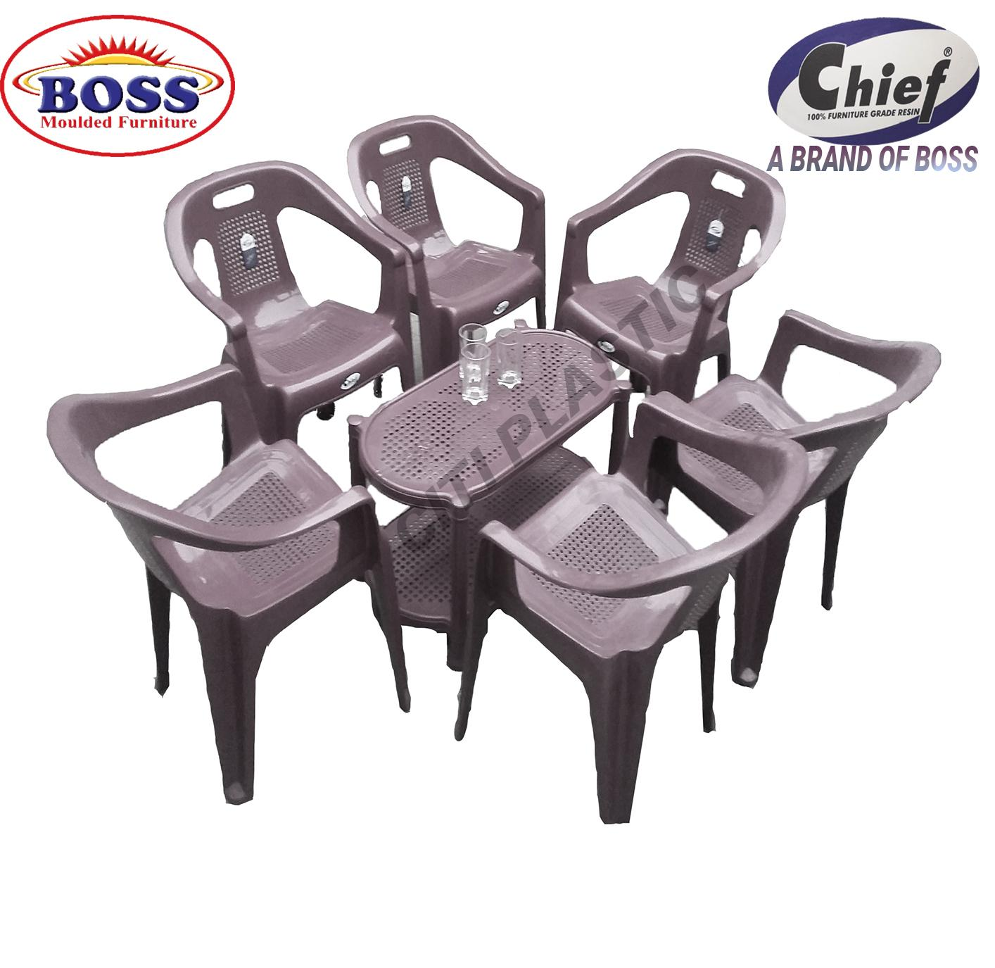 Möbel Boss Big Sofa Swing Chief Boss Set Of 6 Plastic Chairs And Plastic Table Grey