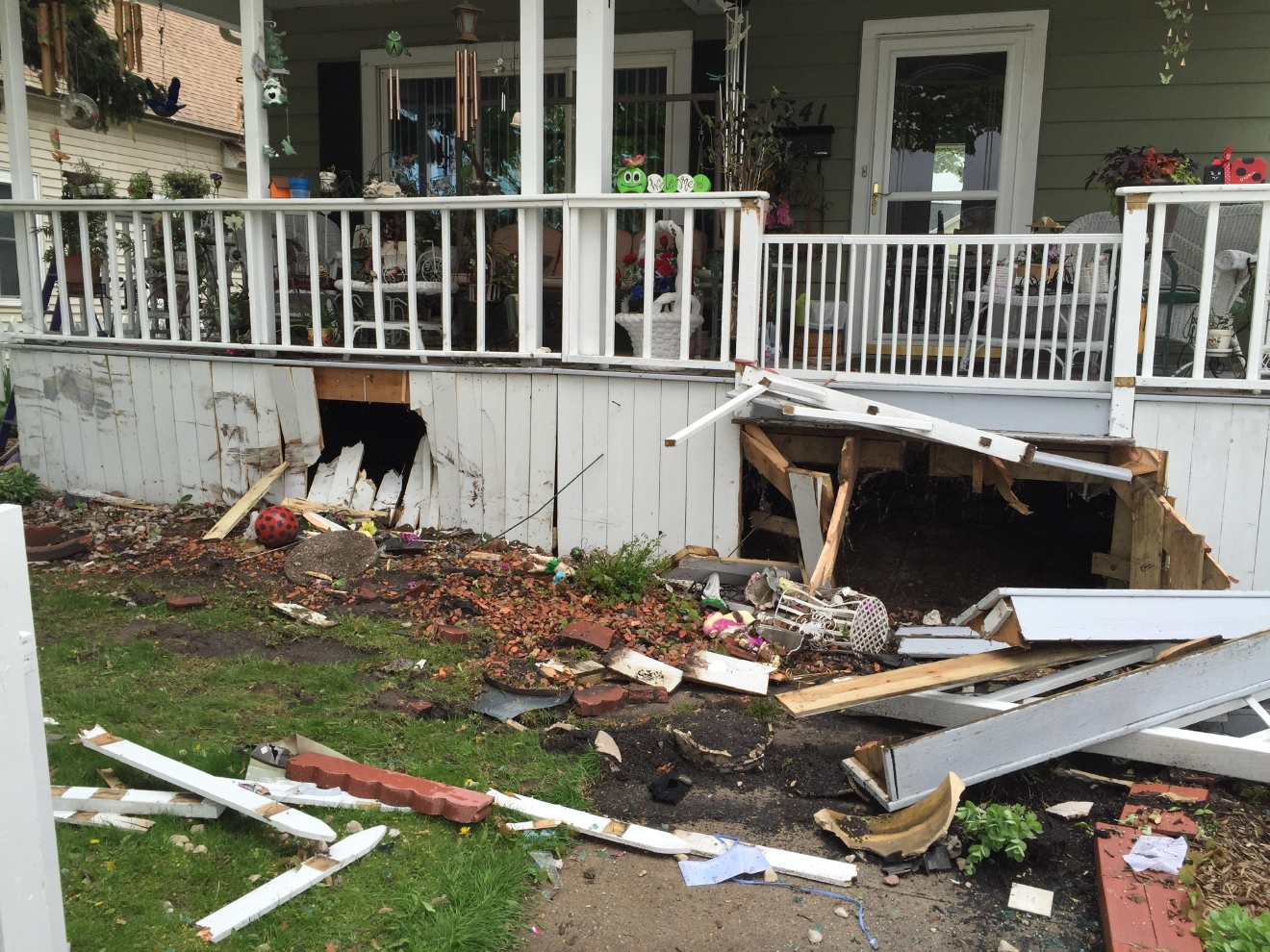 Damage to a house in the 300 block of n ashland ave in green