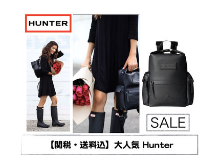 Hunter 2016 17aw Unisex A4 Plain Leather Backpacks By