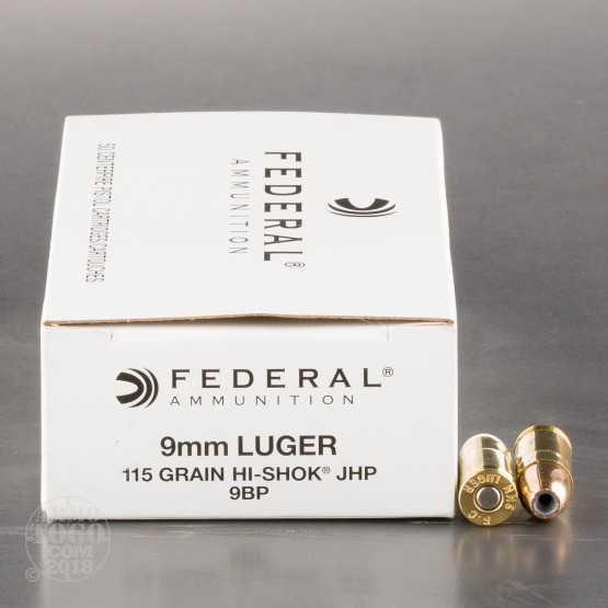9mm Luger (9x19) Ammo - 50 Rounds of 115 Grain Jacketed Hollow-Point