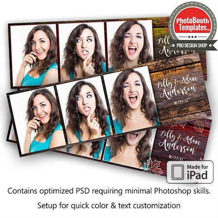 Wooden Leaves Postcard (iPad) Photo Booth Template
