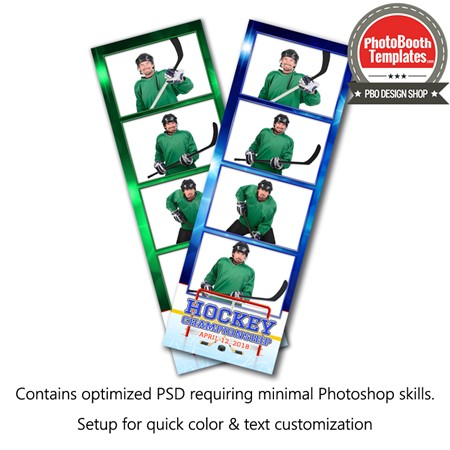 Hockey Celebration 4-up Strips Photo Booth Template