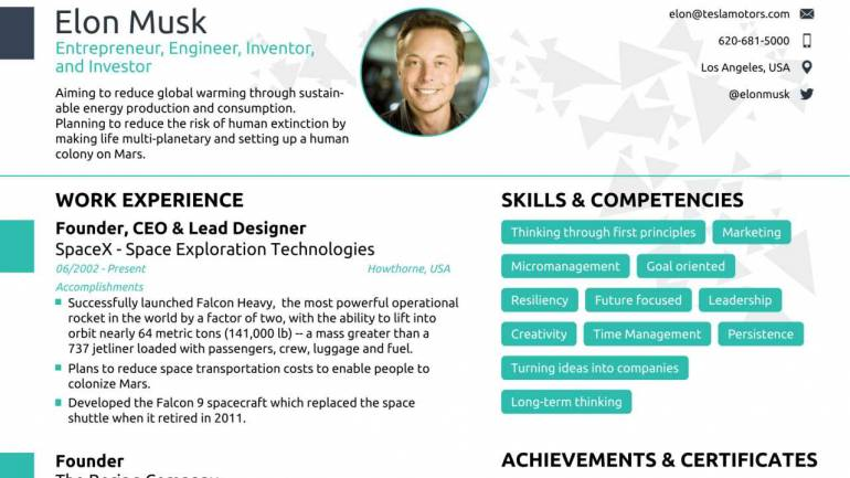 Can anyone fit Elon Musk\u0027s resume in a single page? A job assistance - how to write a one page resume