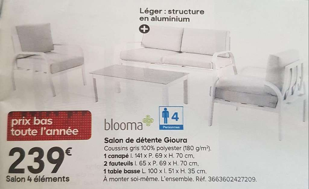 Blooma Jardin Salon De Jardin Blooma Gioura – Dealabs.com