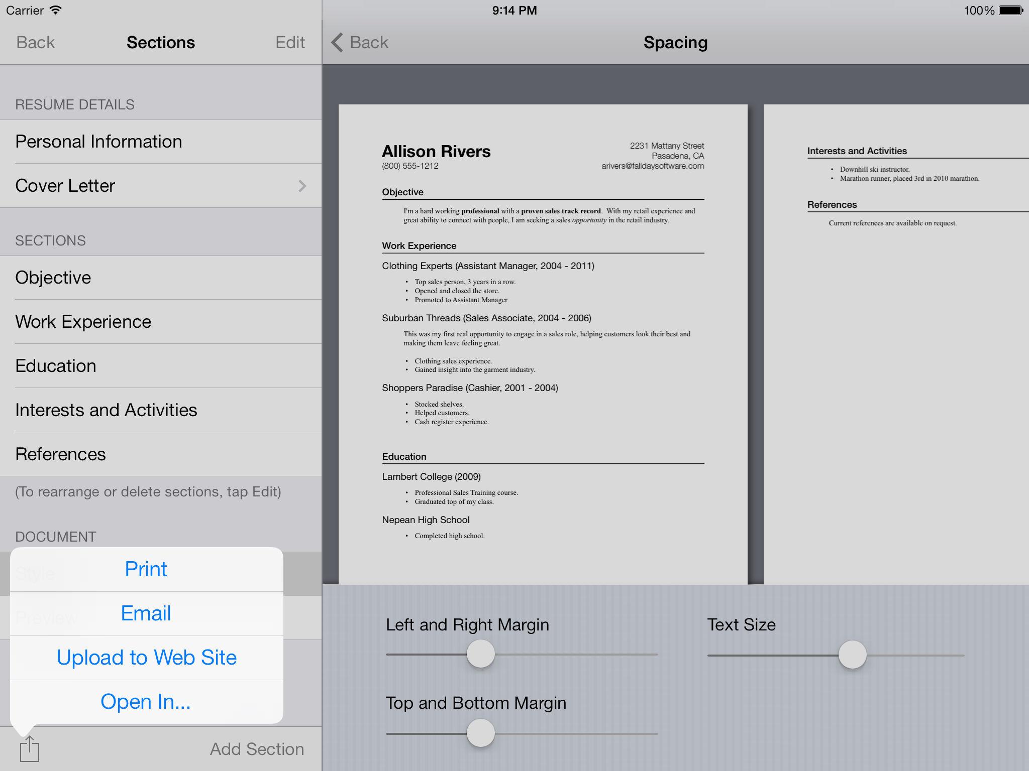 good resume app ipad