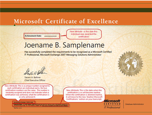 New Microsoft Certification Transcripts and Certificates Microsoft - certificate microsoft