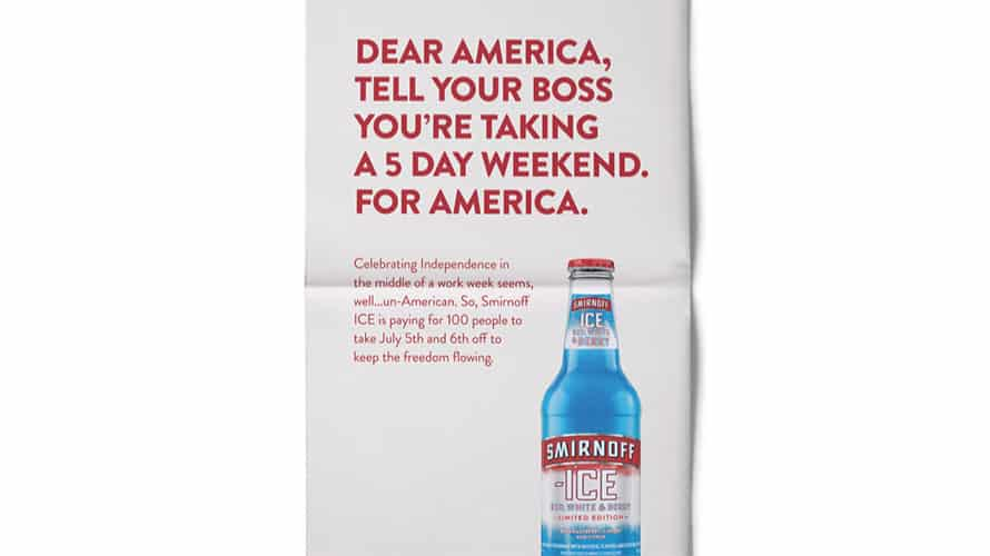 Smirnoff Ice Launches \u00275 Day Weekend for America\u0027 Campaign to