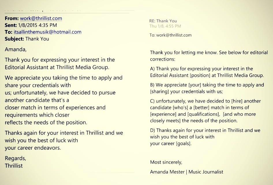 Woman Responds to Thrillist\u0027s Job Rejection Letter by Publicly