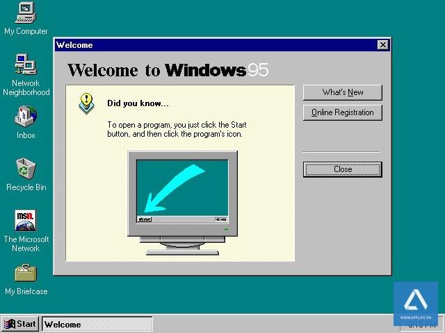Màn hình đầu tiên khi vào Windows 95