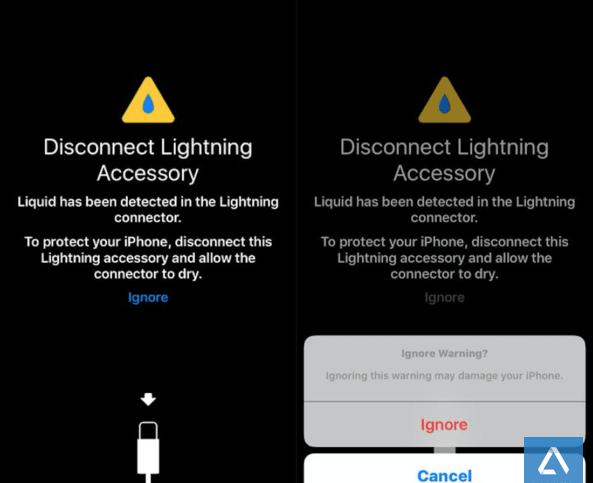iOS 10 có khả năng nhận biết cổng sạc dính nước