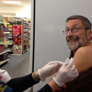 Barry Atwood getting a flu shot