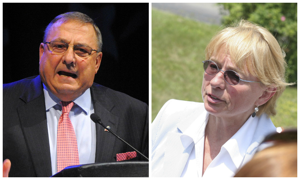 Republican Gov. Paul LePage and Democrat Attorney General Janet Mills. BDN file photos by Gabor Degre and William P. Davis.