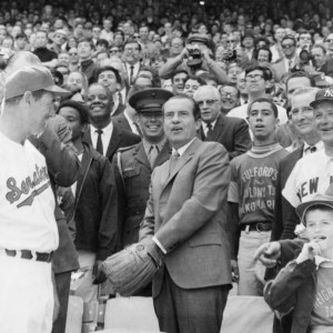 1969: President Richard Nixon throwing out the first pitch at a Washington Senators game. (Click to enlarge. Photo by Walter K. Leffler, donated to the Library of Congress and released for unconditional use in public domain).