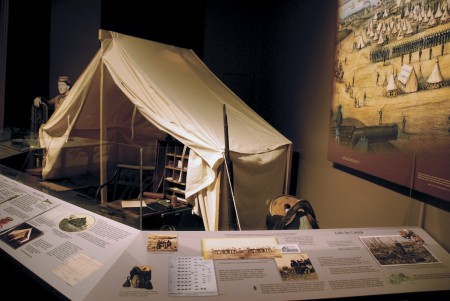 "The ""Maine Voices in the Civil War"" exhibit at the Maine State Museum incorporates a detailed depiction of life in Union camps. Many items utilized in the exhibit were actually used by Maine soldiers during the Civil War. (Brian Swartz Photo)"