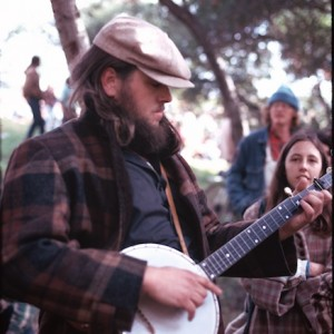 Bob Webb plays the banjo at a fiddle contest in San Diego in 1974.