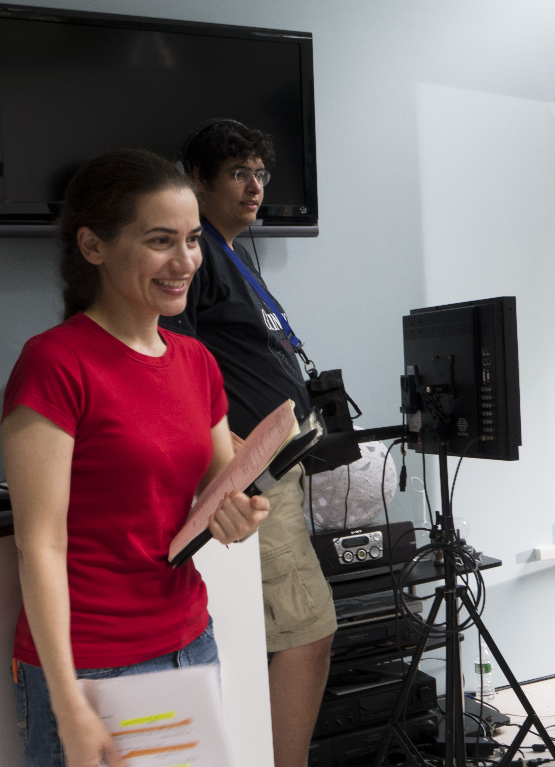 "Photo by Ann Tracy Photography  Jenny Anastasoff (left) behind the scenes of her debut film ""Sui Generis."""