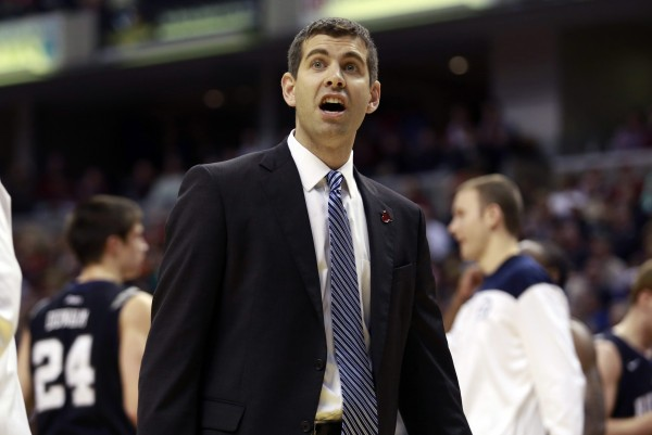 Butler University head coach Brad Stevens questions an official's call during the second half of an NCAA basketball game against Indiana University in Indianapolis last year.