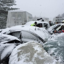 A 75-vehicle pileup shut down the northbound lanes of Interstate 95 between Newport and Bangor most of Feb. 25.