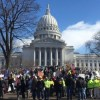 Hundreds of union members rally outside the State Capitol building in Madison, Wisconsin, in February.