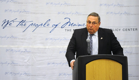 Governor Paul LePage speaks at the Maine Heritage Policy Center luncheon at the Cross Insurance Center in Bangor in this March 4, 2015, file photo.