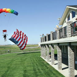 Justin Hilker lands at his family's Franklin County, Washgington, backyard on Thursday, August 23, 2012.