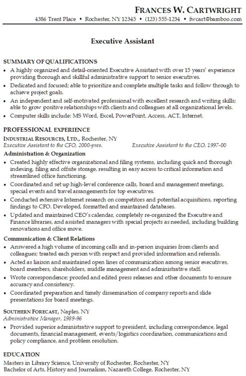 Executive Assistant Resume Sample Resume Of School Administrative - best resume format for executives