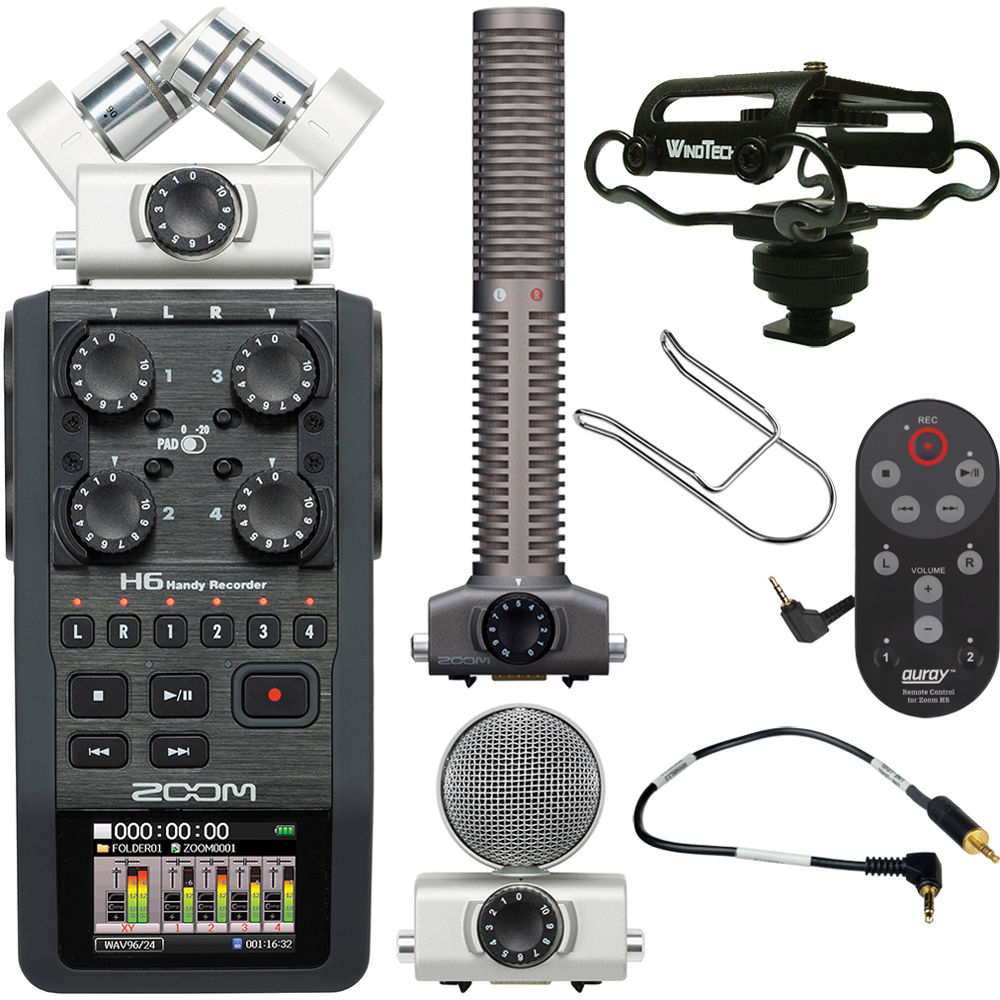 Zoom H6 Recorder Zoom H6 Handy Recorder On Camera Package Kit