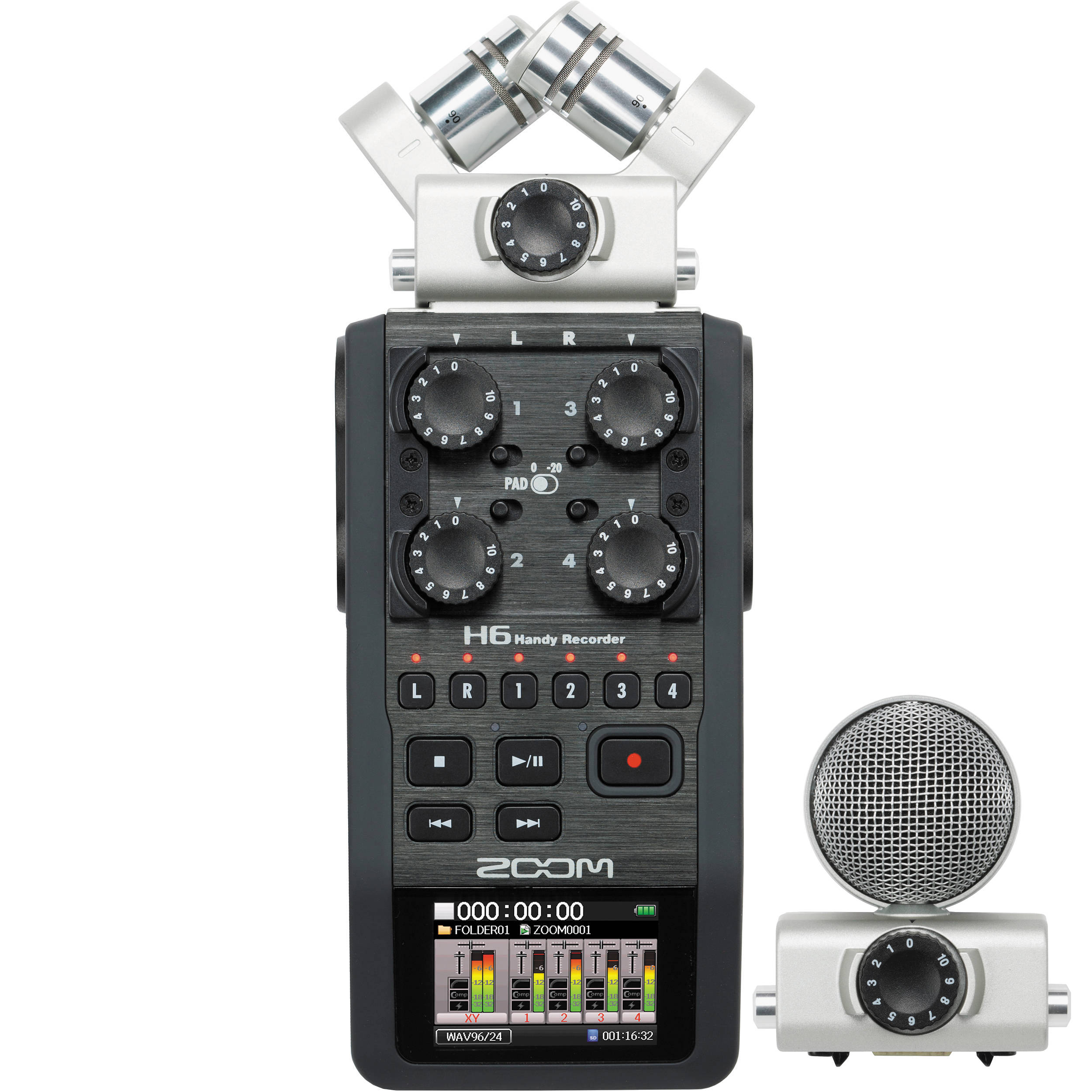 Zoom H6 Recorder Zoom H6 6 Input 6 Track Portable Handy Recorder With Interchangeable Mic Capsules