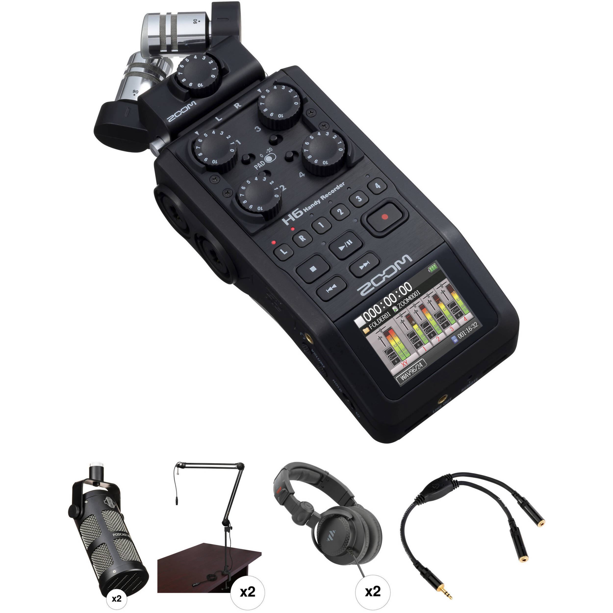 Zoom H6 Recorder Zoom H6 Recorder Podcast Kit With Two Mxl Bcd 1 Broadcast Microphones
